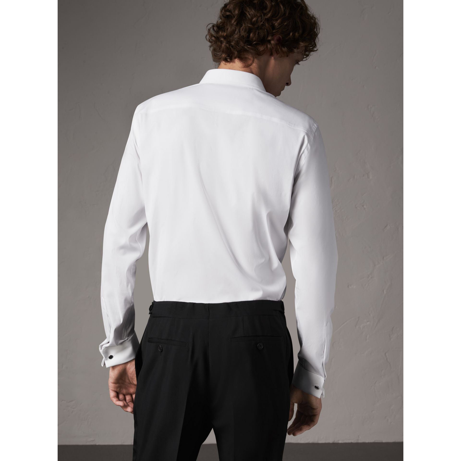 Slim Fit Double-cuff Stretch Cotton Poplin Shirt in White - Men | Burberry - gallery image 3