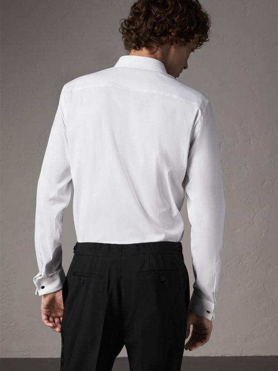 Slim Fit Double-cuff Stretch Cotton Poplin Shirt in White - Men | Burberry - cell image 2