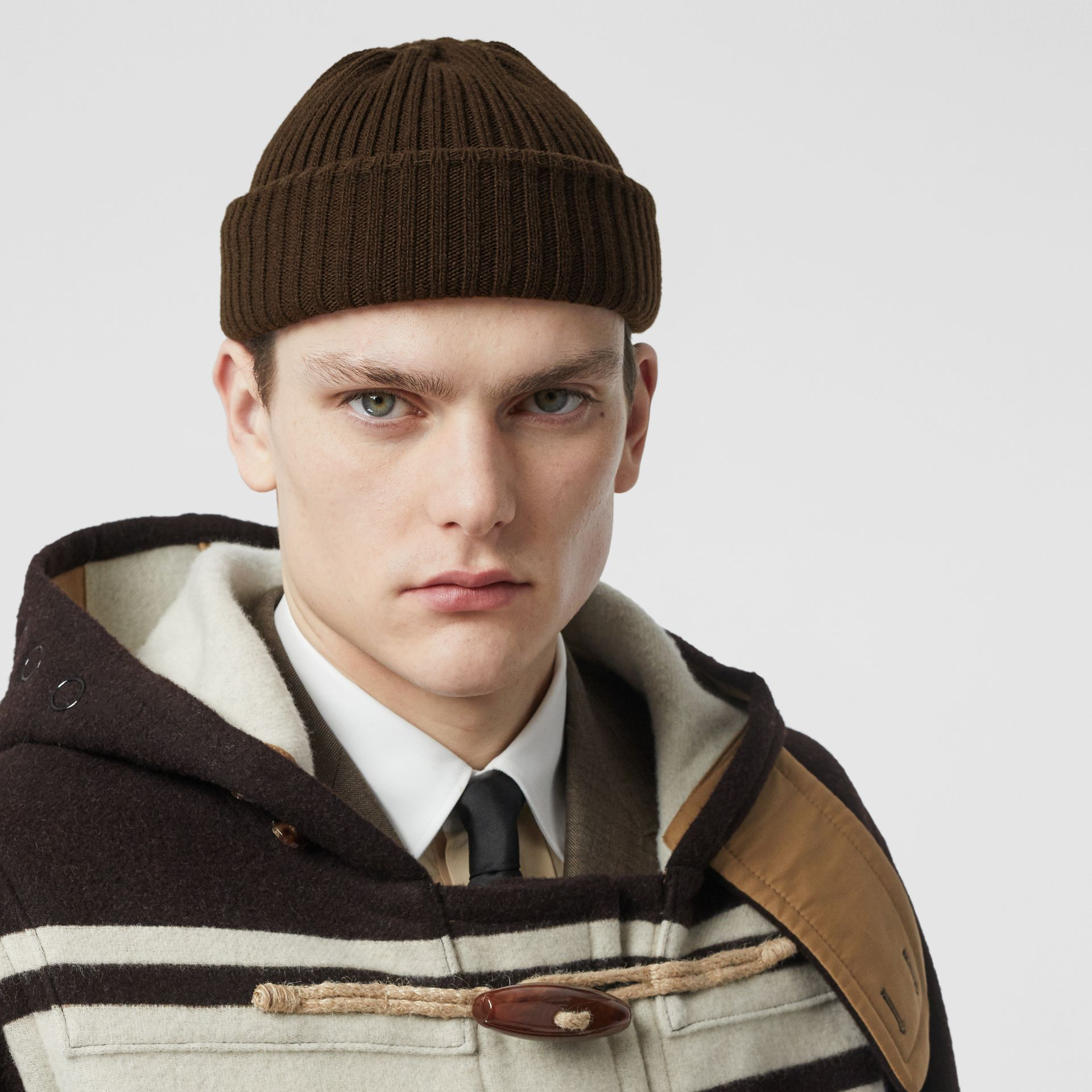 Rib Knit Wool Beanie in Deep Brown | Burberry - gallery image 2