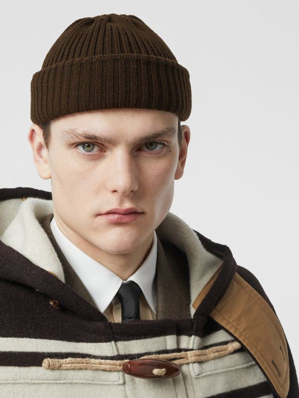 Rib Knit Wool Beanie in Deep Brown | Burberry - cell image 2