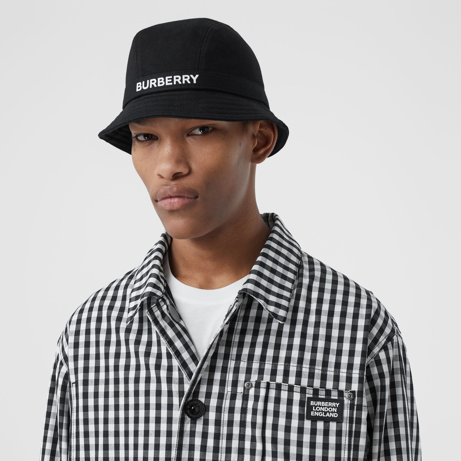 Logo Print Cotton Jersey Bucket Hat in Black | Burberry United Kingdom - gallery image 3