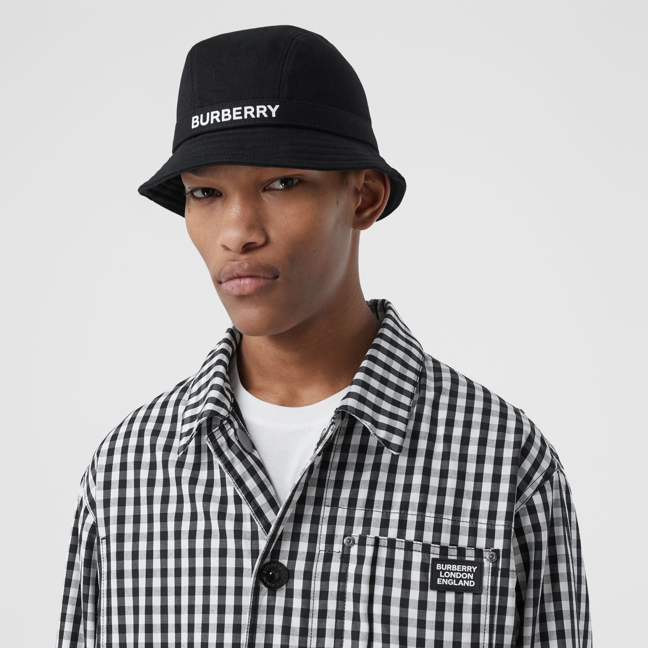 Logo Print Cotton Jersey Bucket Hat in Black | Burberry - 4