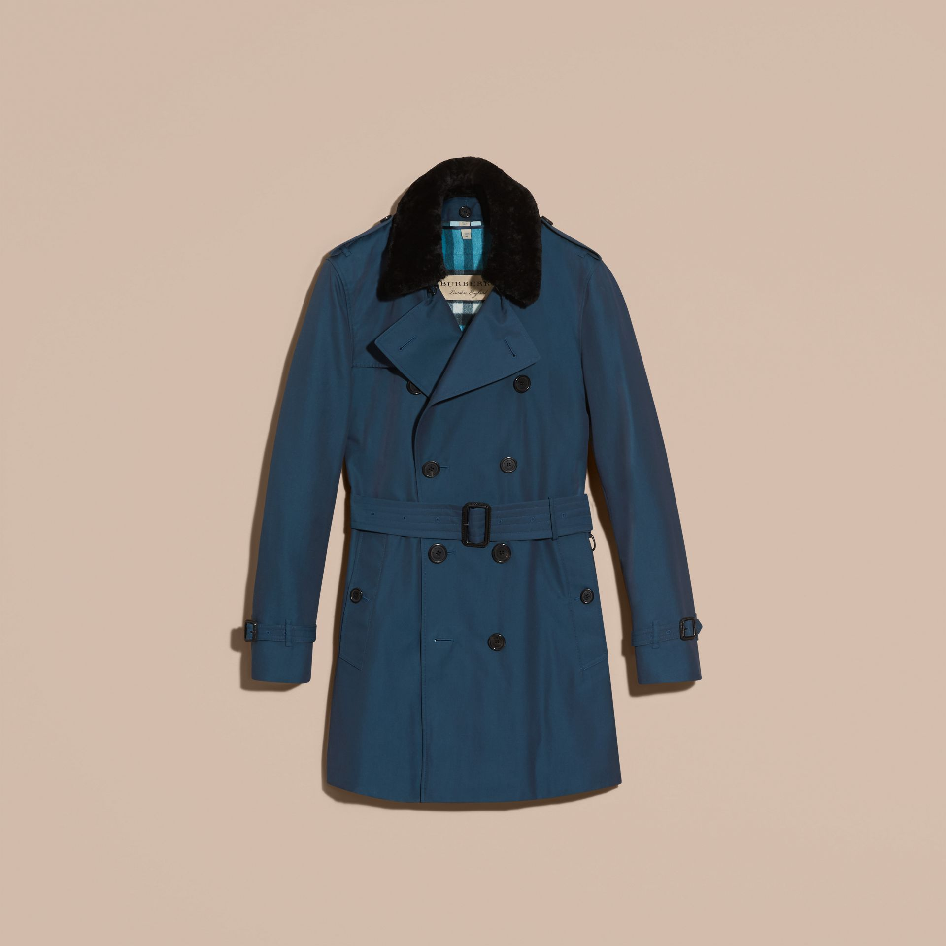 Detachable Shearling Topcollar Cotton Gabardine Trench Coat with Warmer in Teal Blue - gallery image 4