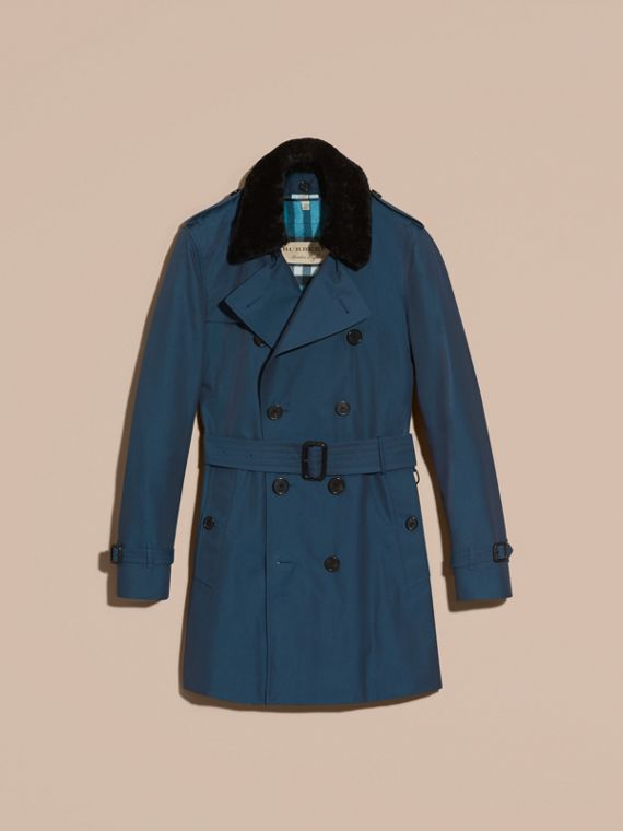 Detachable Shearling Topcollar Cotton Gabardine Trench Coat with Warmer in Teal Blue - cell image 3