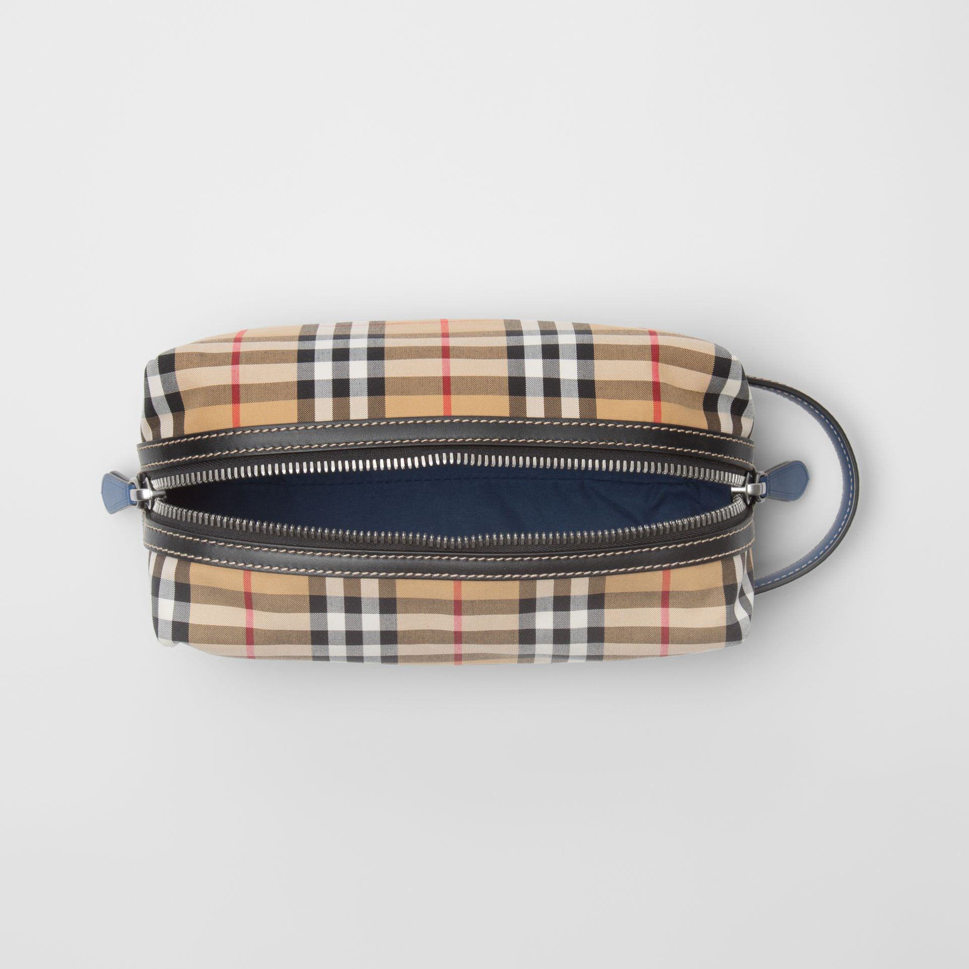 Vintage Check and Leather Pouch in Dark Cyan | Burberry Australia - gallery image 4