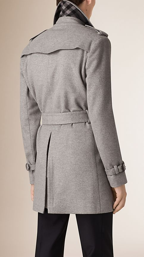 Pale grey melange Mid-Length Wool Cashmere Trench Coat - Image 3