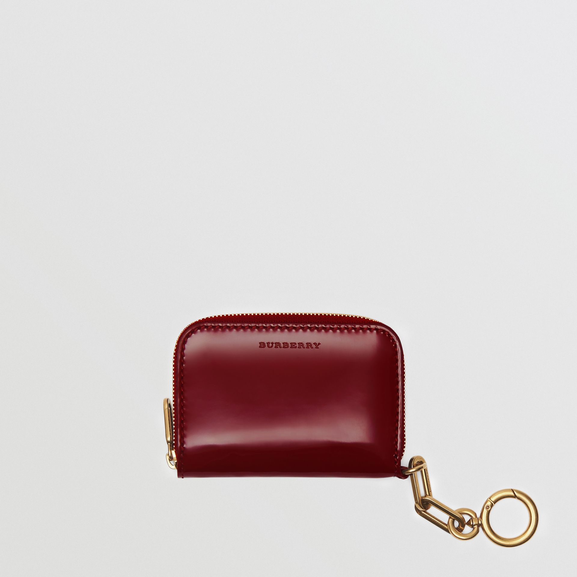 Link Detail Patent Leather Ziparound Wallet in Crimson - Women | Burberry Canada - gallery image 2