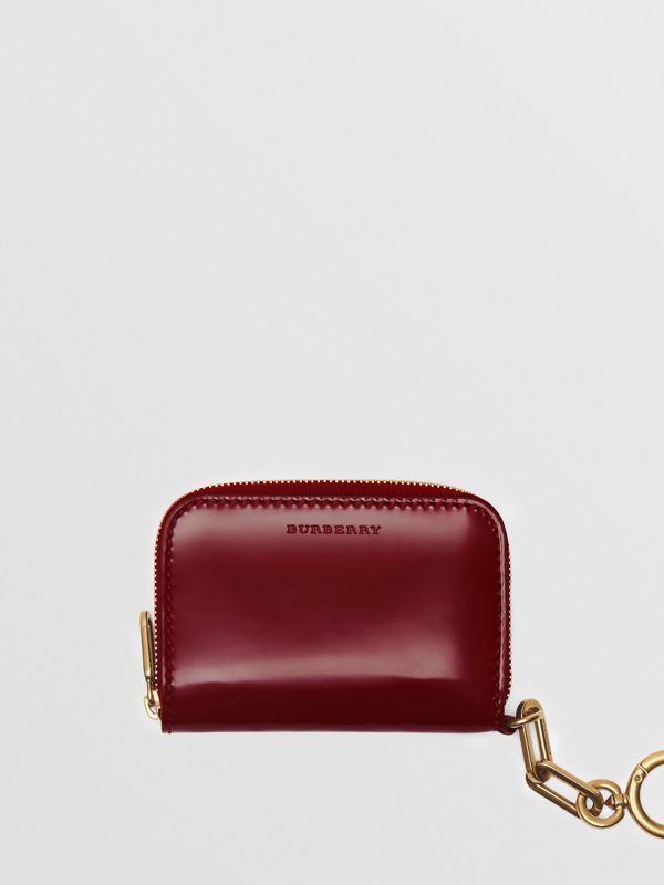 Link Detail Patent Leather Ziparound Wallet in Crimson - Women | Burberry United Kingdom - cell image 2