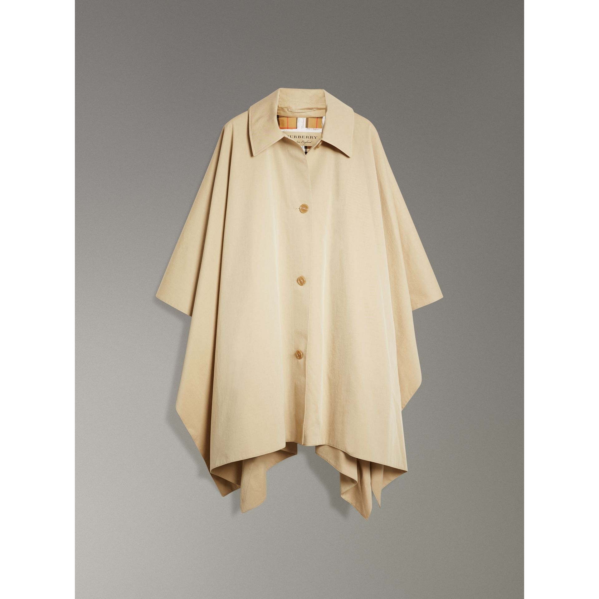 Tropical Gabardine Asymmetric Cape in Oatmeal - Women | Burberry United States - gallery image 3