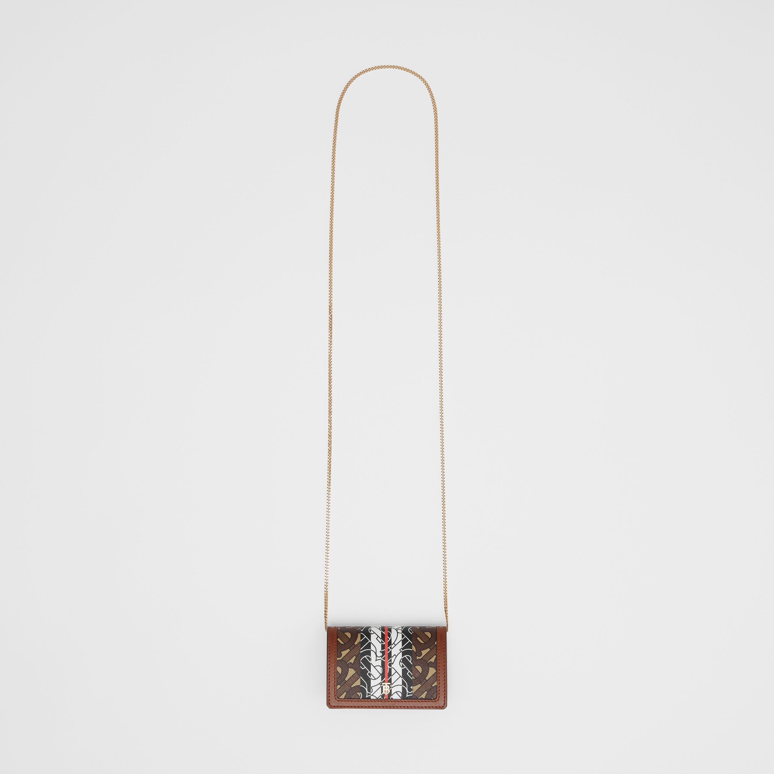Monogram Stripe E-canvas Card Case with Strap in Bridle Brown - Women | Burberry - 4