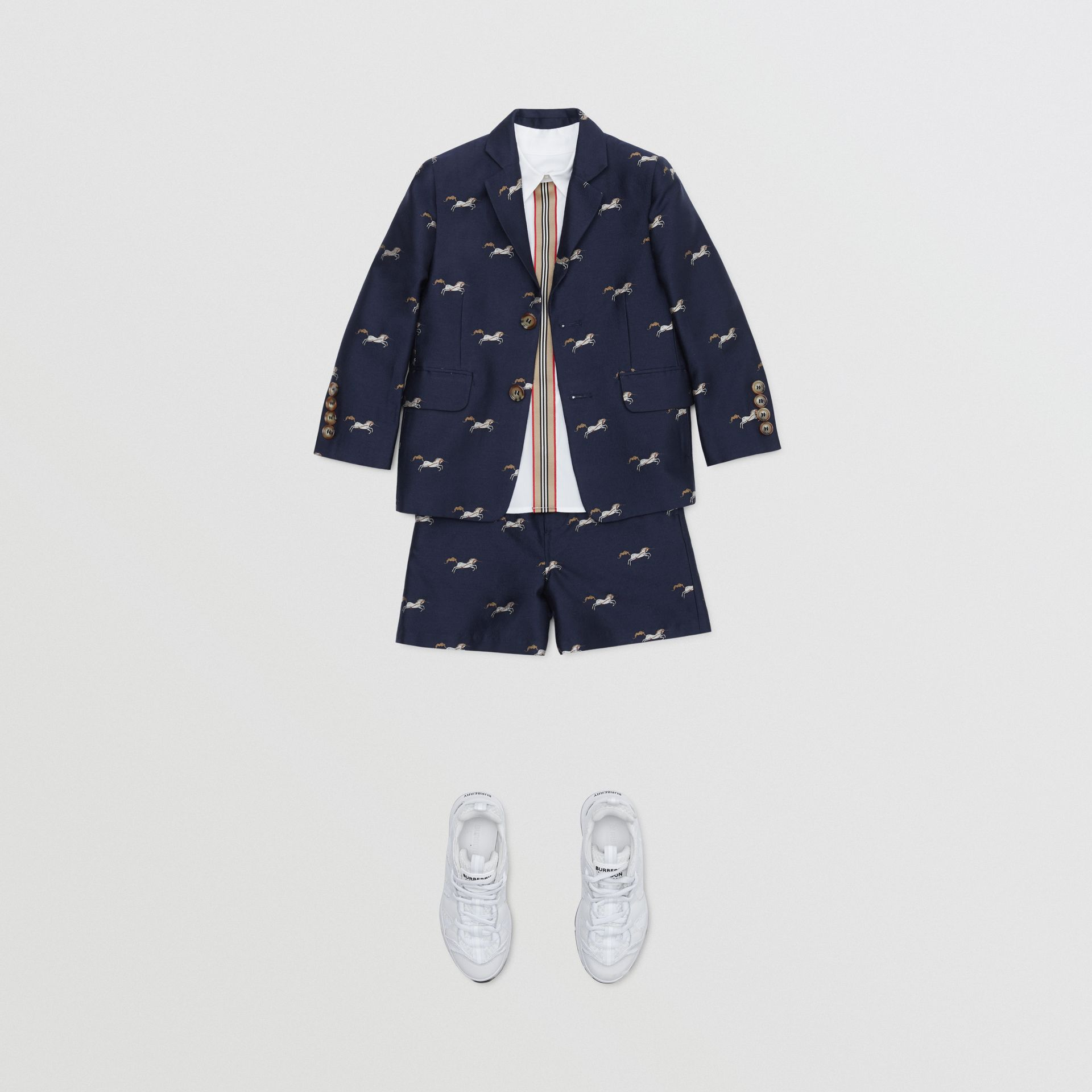 Unicorn Wool Silk Jacquard Blazer in Navy   Burberry United Kingdom - gallery image 2