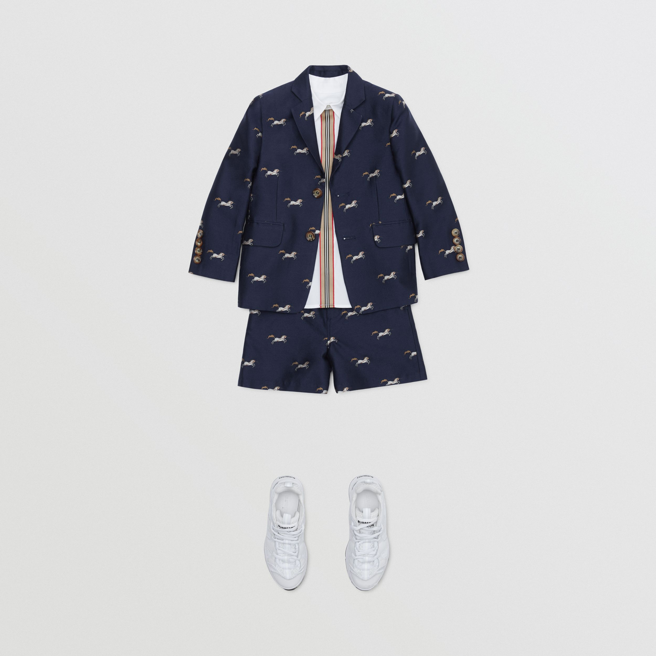 Unicorn Wool Silk Jacquard Blazer in Navy | Burberry - 3