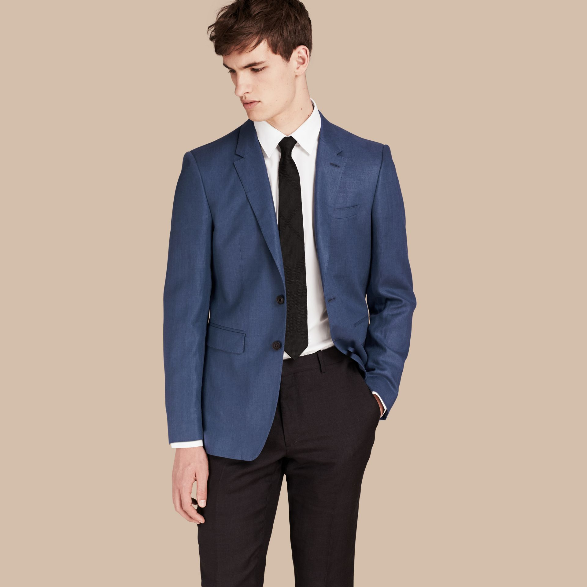 Bright steel blue Modern Fit Linen Tailored Jacket - gallery image 1