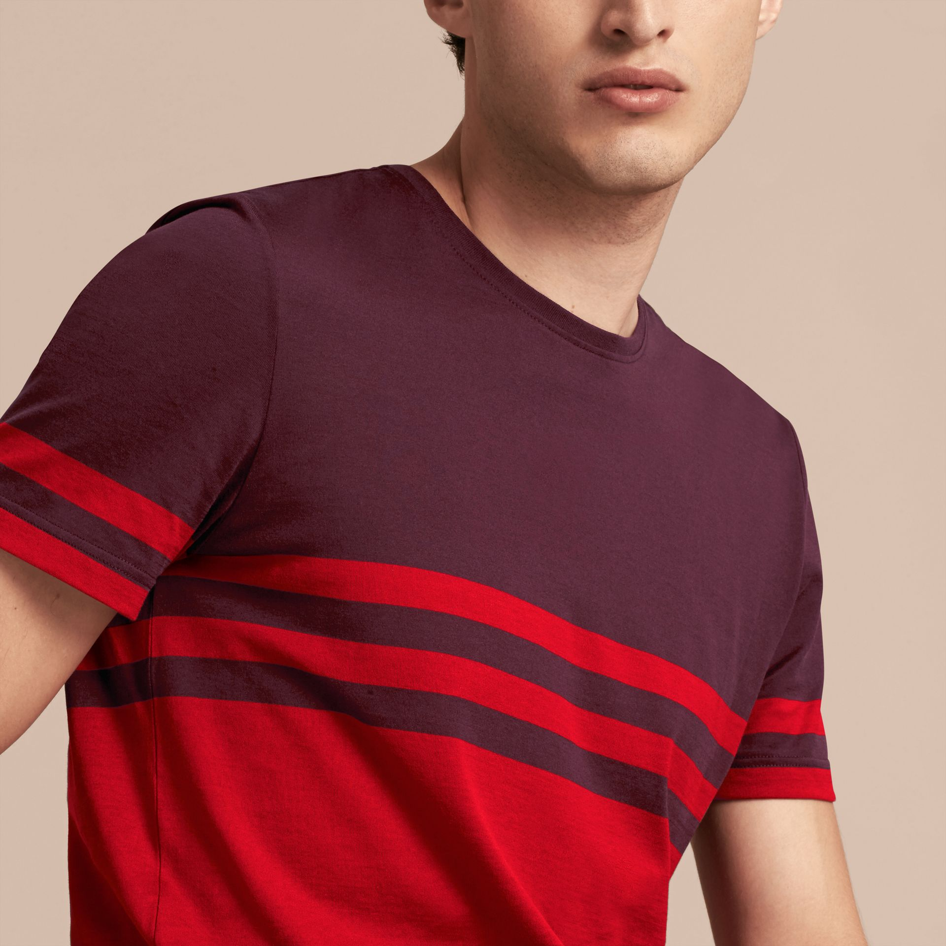Maroon purple Stripe Print Cotton T-shirt Maroon Purple - gallery image 5