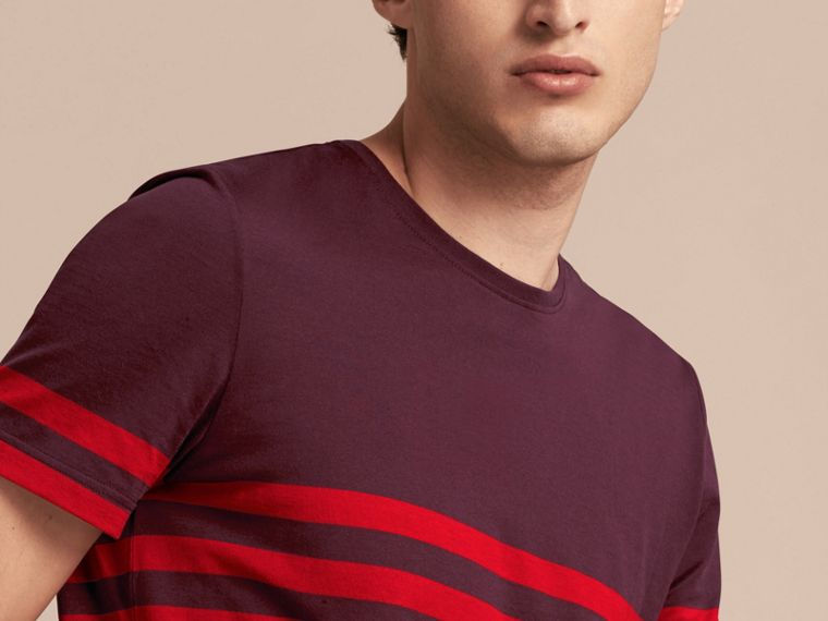 Maroon purple Stripe Print Cotton T-shirt Maroon Purple - cell image 4