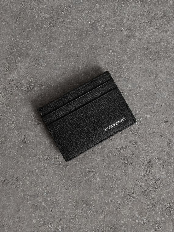 Leather wallets card holders more burberry united kingdom grainy leather card case in black reheart Choice Image