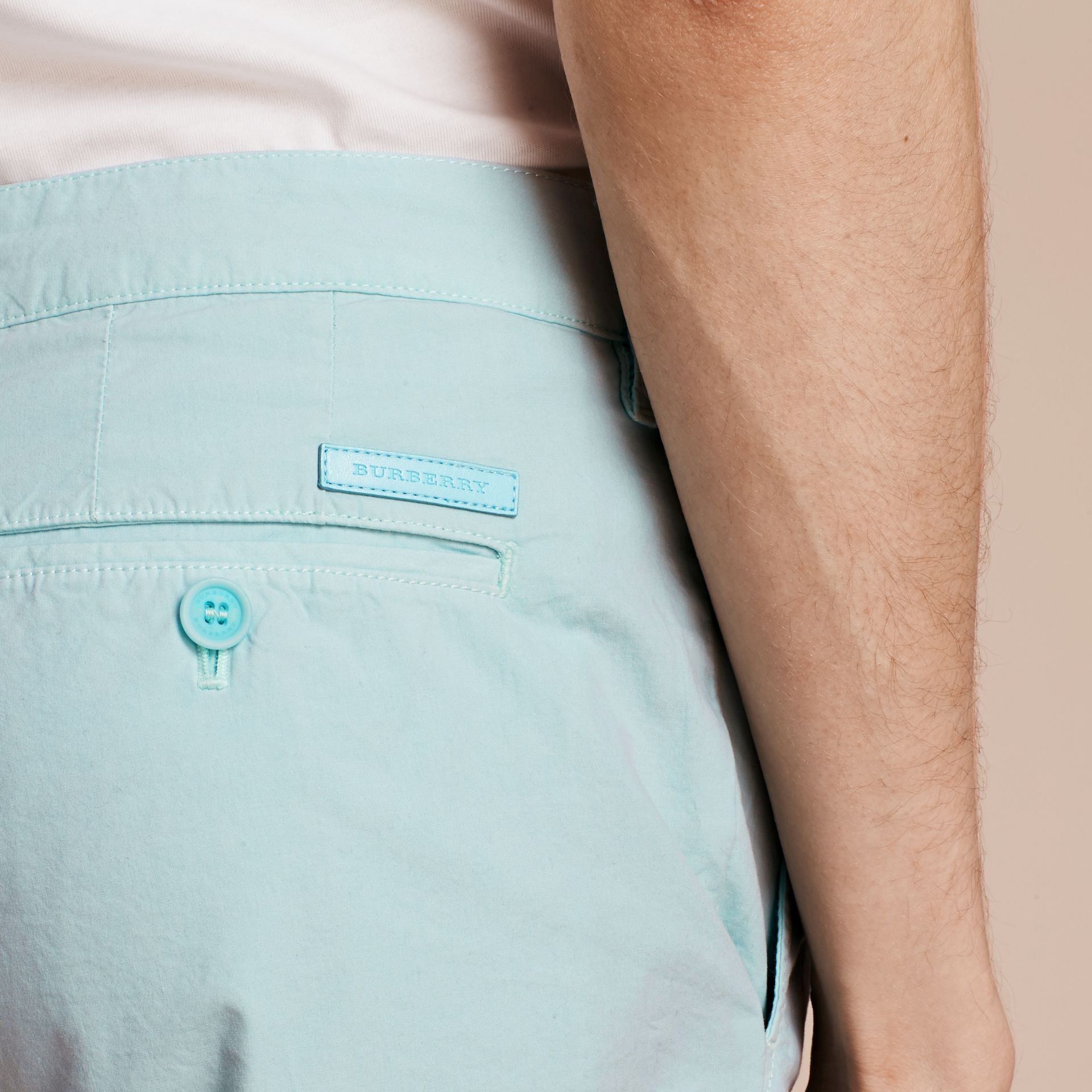Pearl blue Cotton Poplin Chino Shorts Pearl Blue - gallery image 4