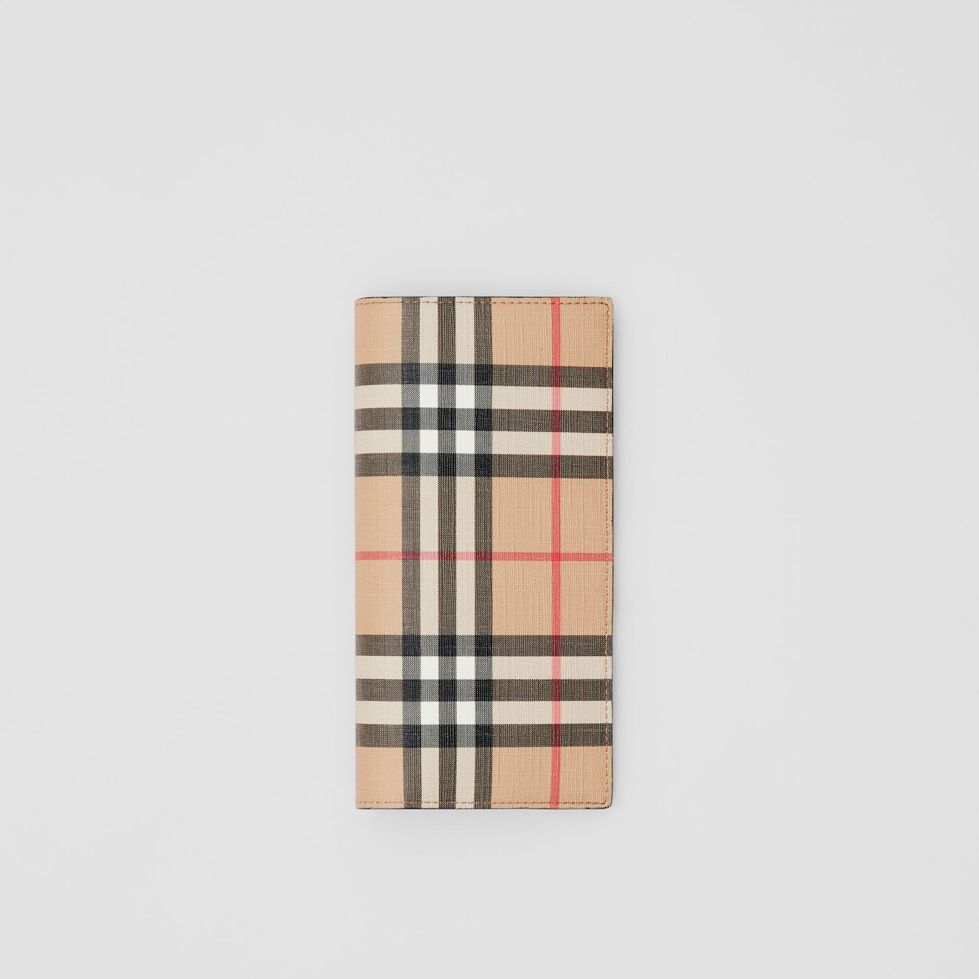 Vintage Check E-canvas Continental Wallet in Archive Beige - Men | Burberry - gallery image 0
