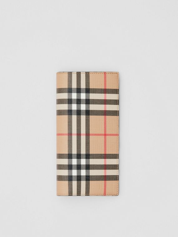 Vintage Check E-canvas Continental Wallet in Archive Beige