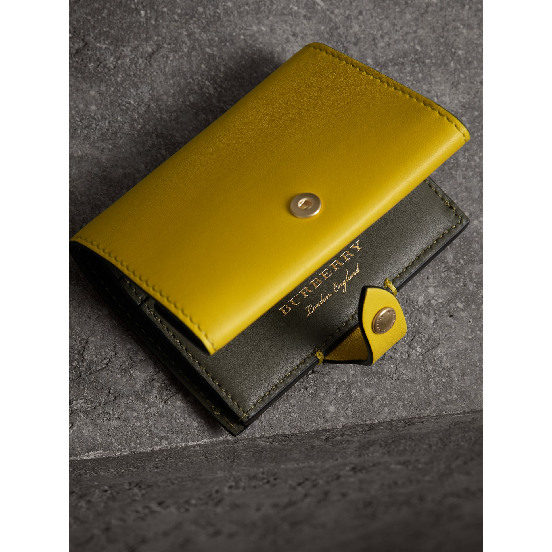 Equestrian Shield Leather Continental Wallet in Bright Larch Yellow - Women | Burberry United Kingdom - gallery image 2
