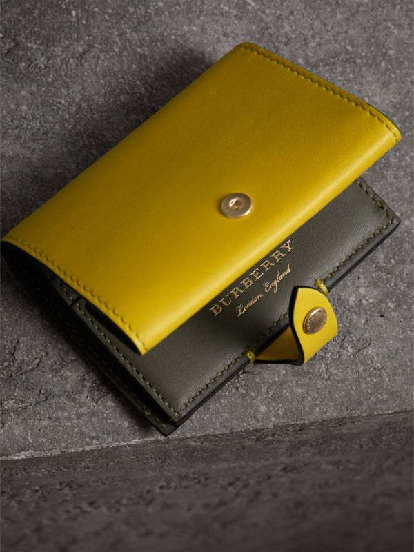 Equestrian Shield Leather Continental Wallet in Bright Larch Yellow - Women | Burberry Australia - cell image 2