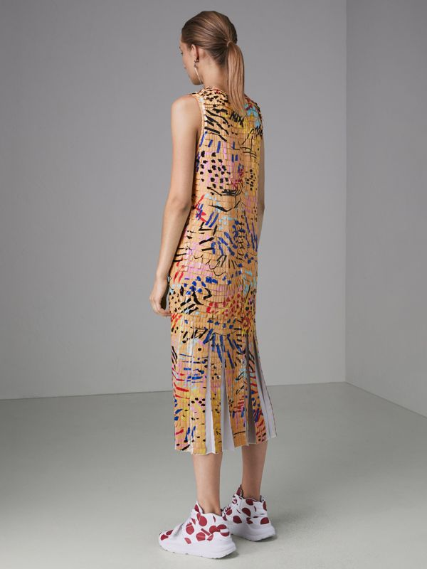 Painted Paillette Sleeveless Dress in Orange - Women | Burberry - cell image 2