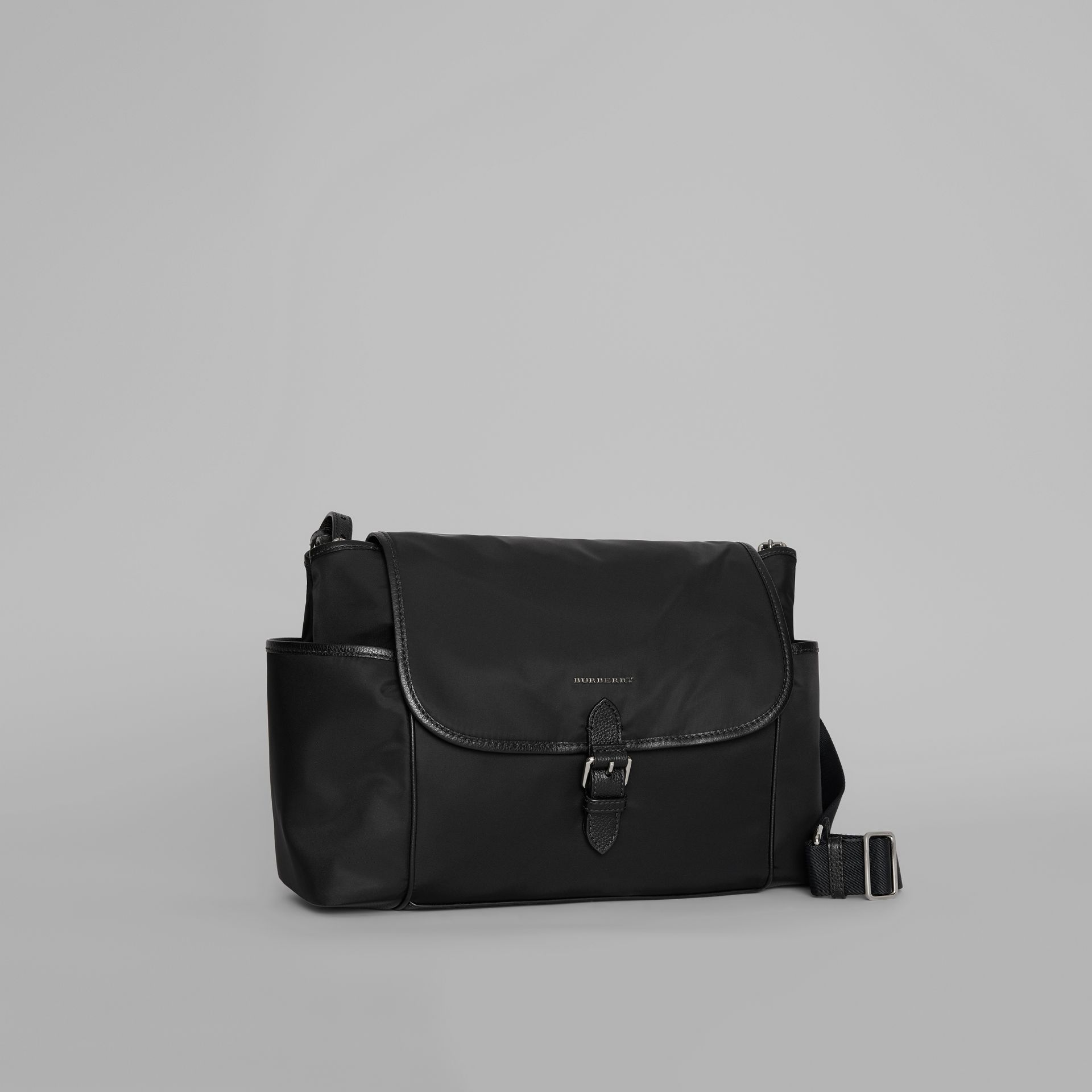 Leather Trim Baby Changing Shoulder Bag in Black - Children | Burberry - gallery image 4