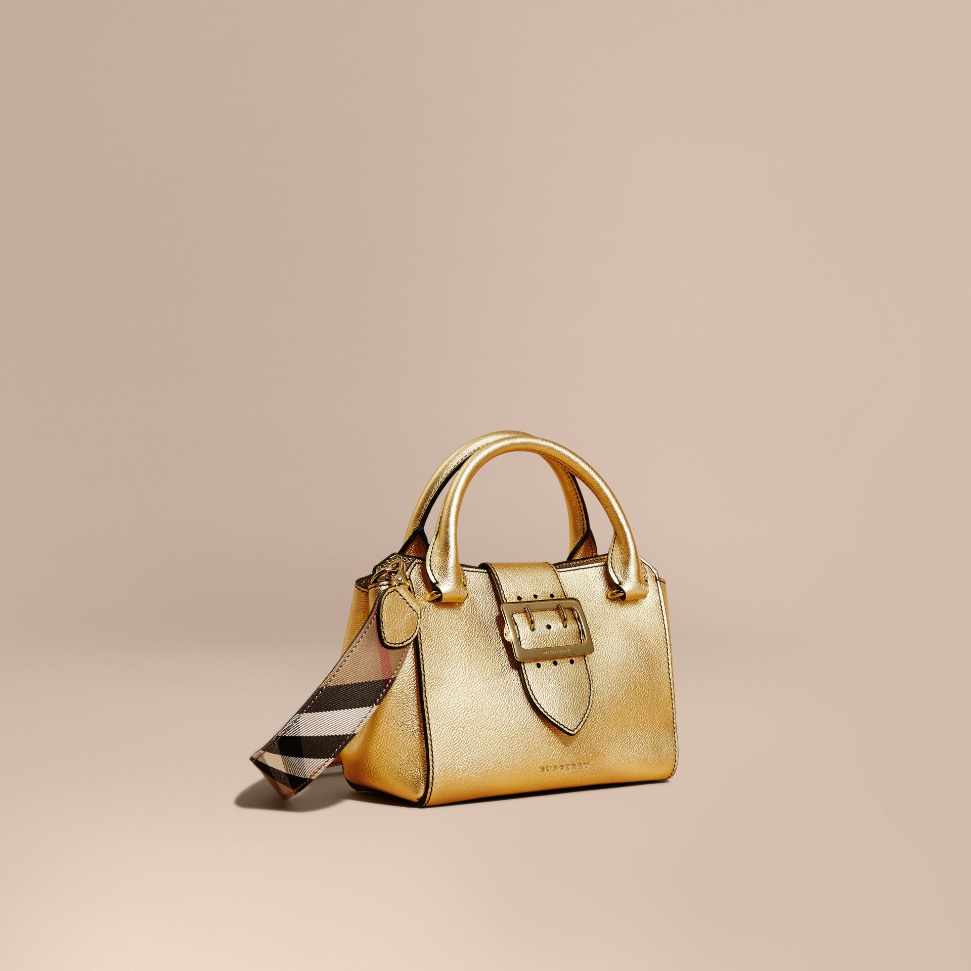 Gold The Small Buckle Tote in Metallic Leather - gallery image 1