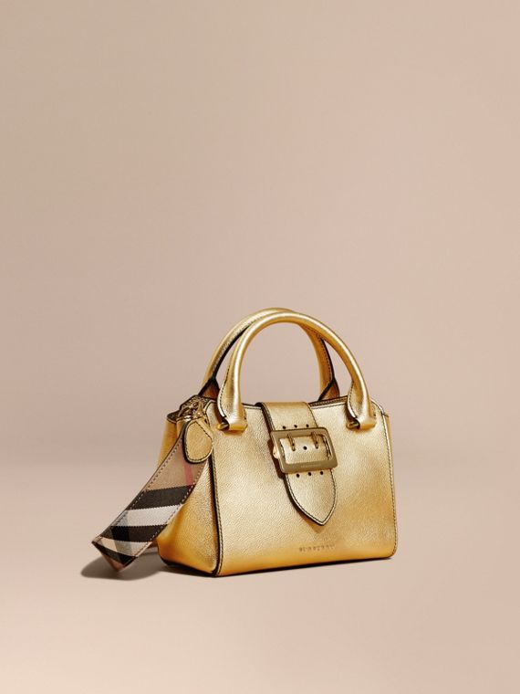 The Small Buckle Tote in Metallic Leather Gold