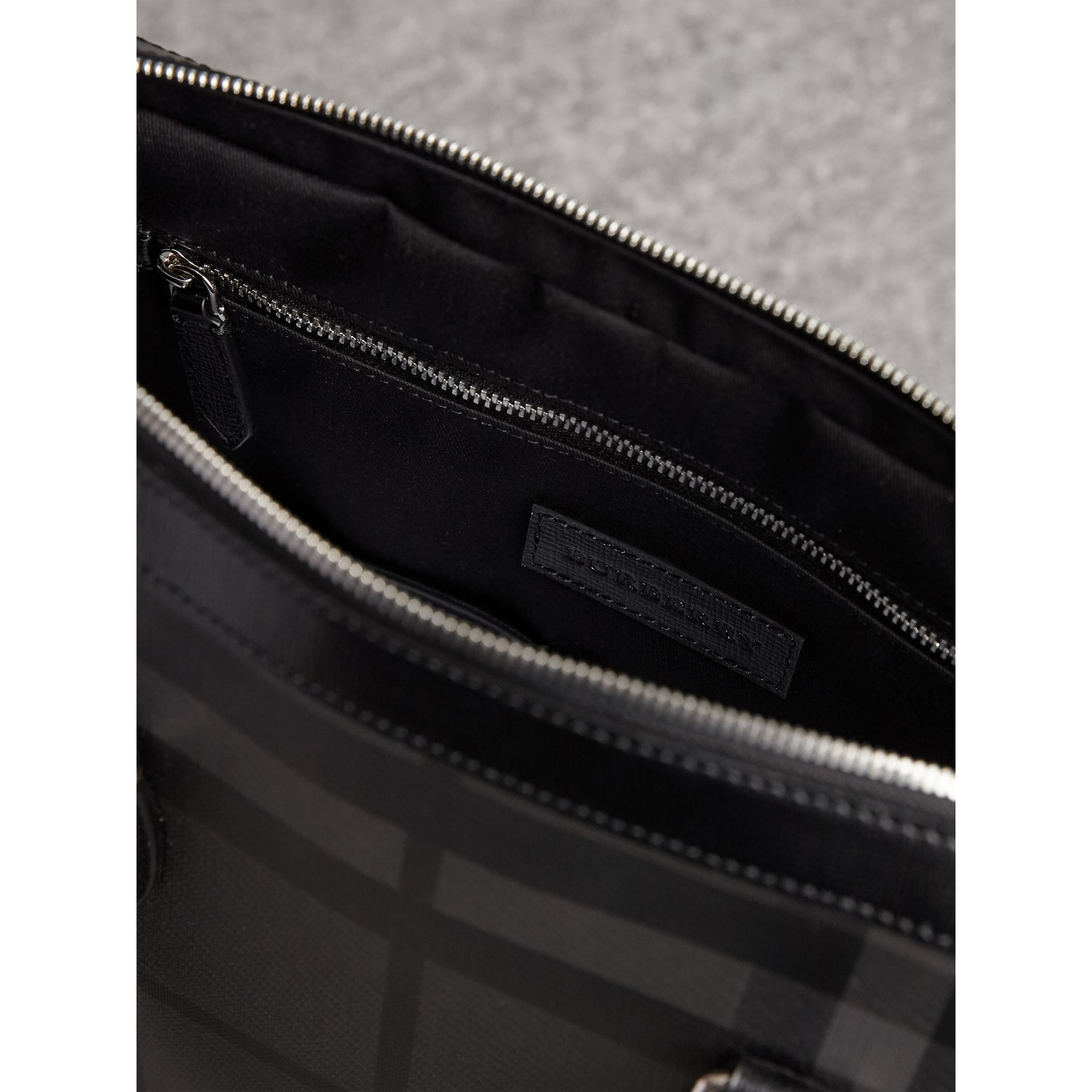 Medium Leather Trim London Check Briefcase in Charcoal/black - Men | Burberry - gallery image 6