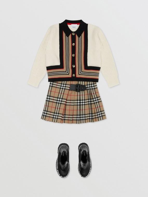 標誌性條紋細節羊毛喀什米爾開襟針織衫 (自然白)
