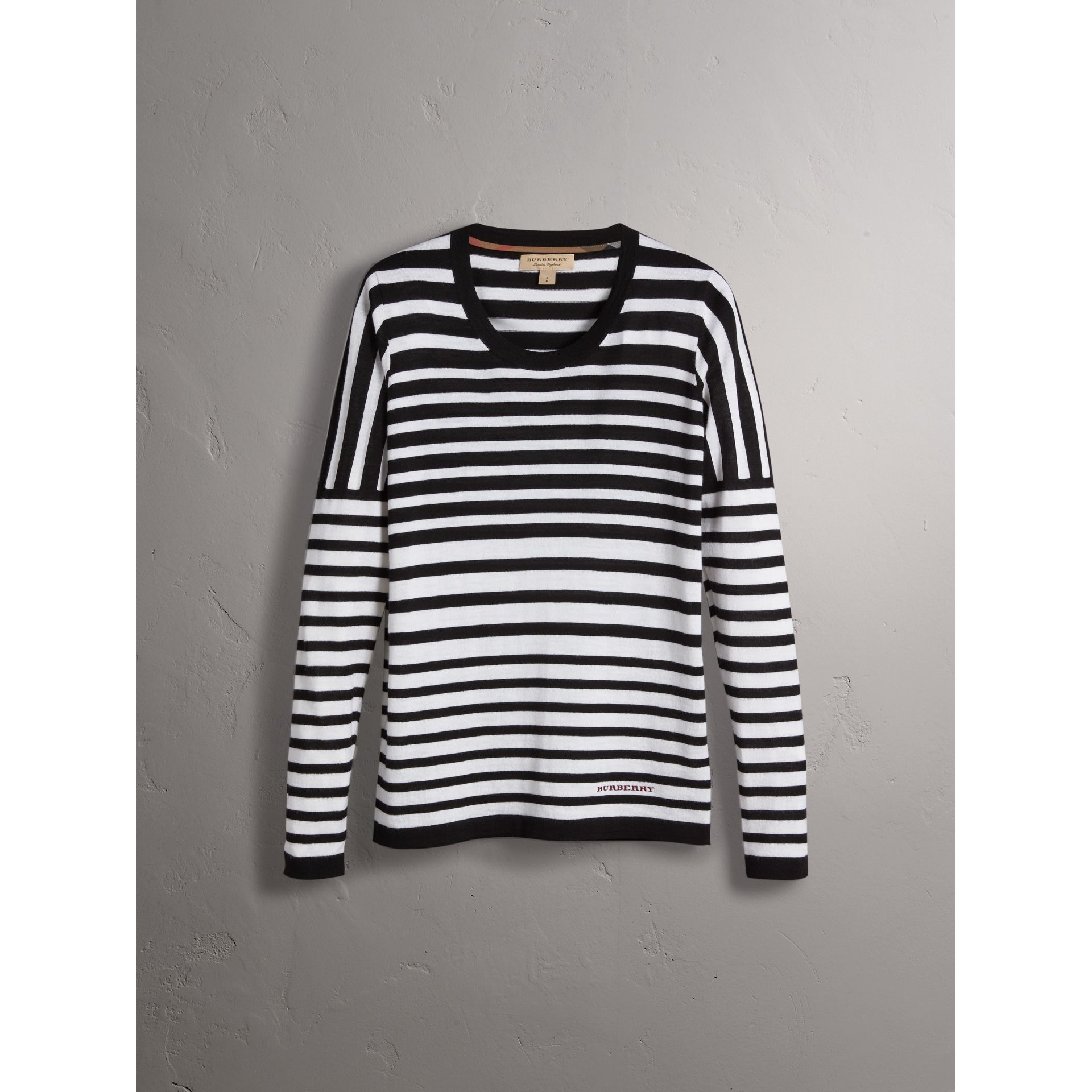 Graduated Stripe Merino Wool Sweater in Black/natural White - Women | Burberry - gallery image 4