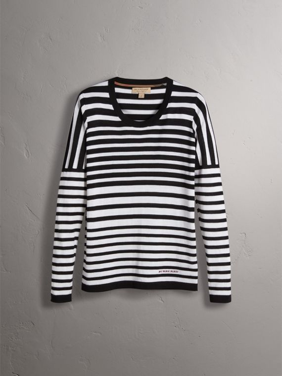 Graduated Stripe Merino Wool Sweater in Black/natural White - Women | Burberry - cell image 3