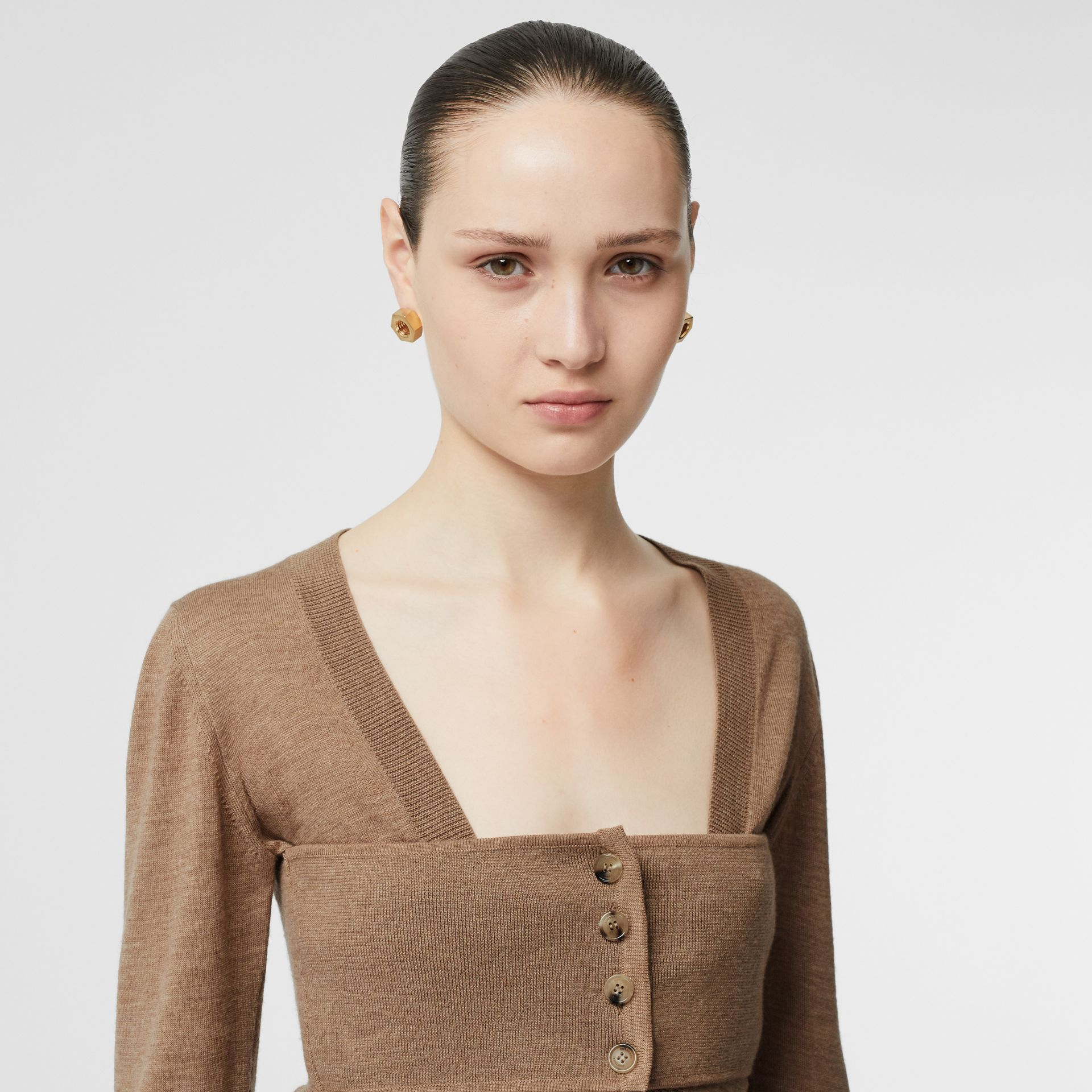 Button Panel Detail Merino Wool V-neck Sweater in Sand - Women | Burberry - gallery image 1