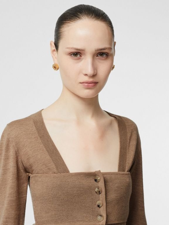 Button Panel Detail Merino Wool V-neck Sweater in Sand - Women | Burberry - cell image 1