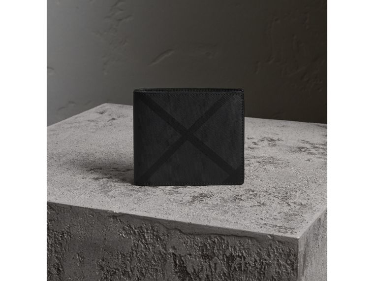 London Check Folding Wallet in Charcoal/black - Men | Burberry Australia - cell image 4