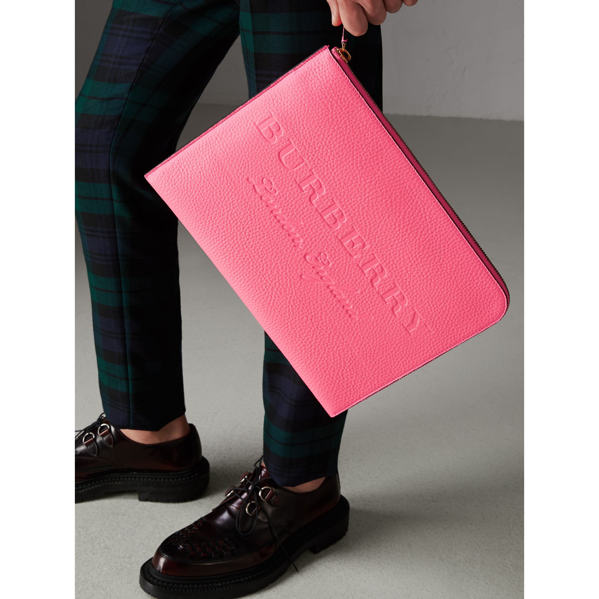 Embossed Leather Document Case in Neon Pink - Men | Burberry - gallery image 2