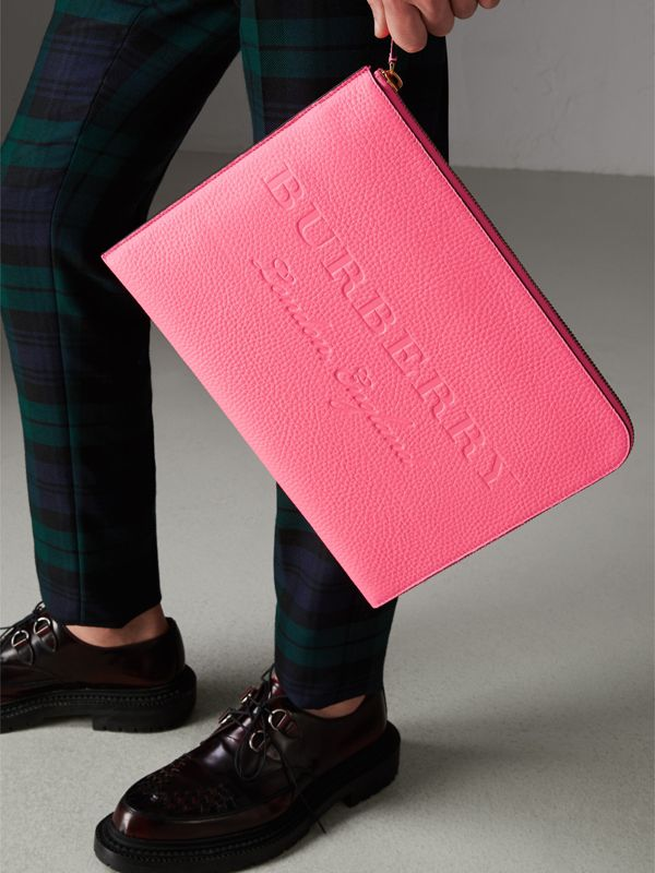 Embossed Leather Document Case in Neon Pink - Men | Burberry - cell image 2