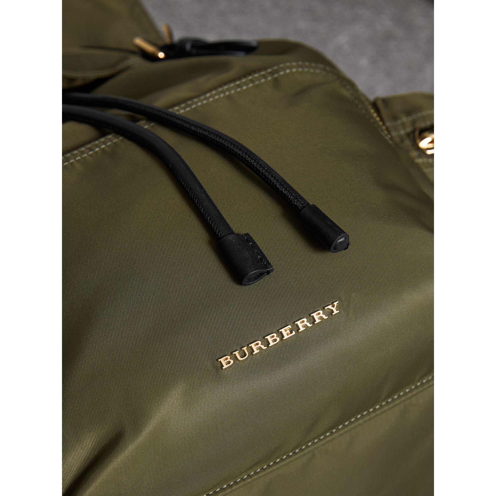 The Large Rucksack in Technical Nylon and Leather in Canvas Green - Women | Burberry United Kingdom - gallery image 1