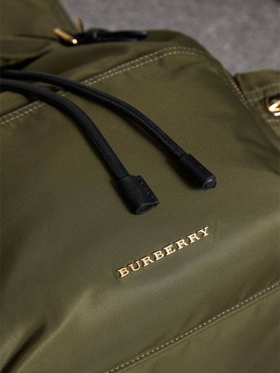 The Large Rucksack in Technical Nylon and Leather in Canvas Green - Women | Burberry - cell image 2