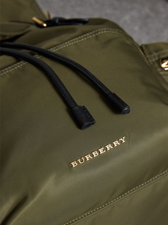 The Large Rucksack in Technical Nylon and Leather in Canvas Green - Women | Burberry United Kingdom - cell image 1