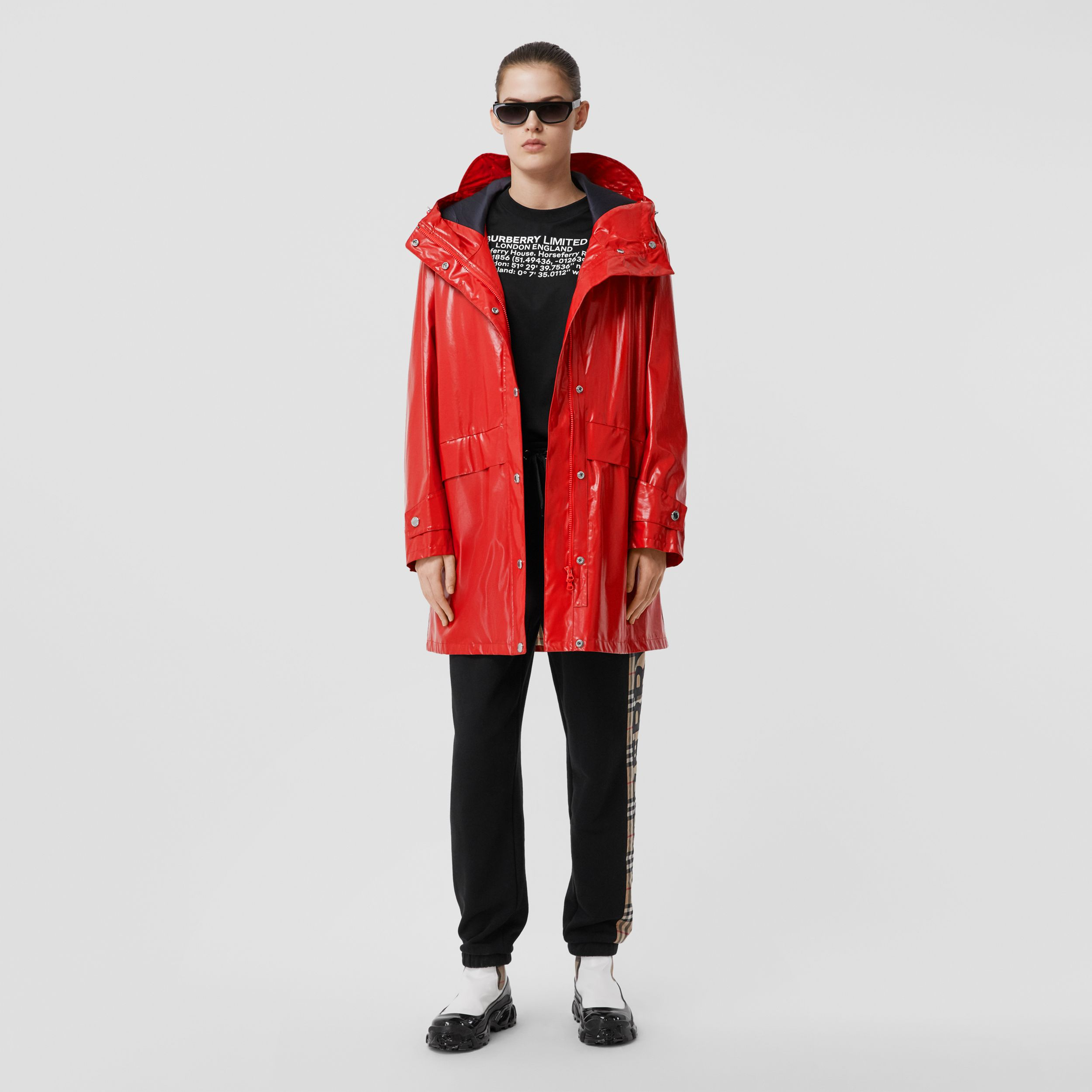 Horseferry Print Coated Jersey Parka in Bright Red - Women | Burberry - 1