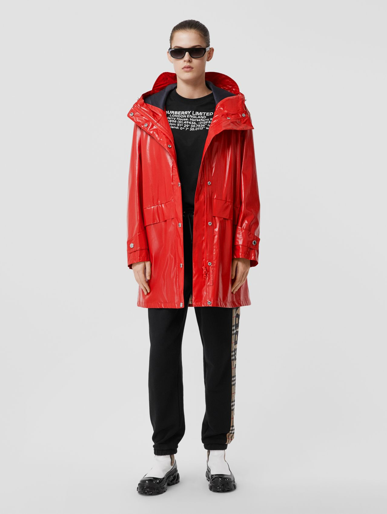 Horseferry Print Coated Jersey Parka (Bright Red)