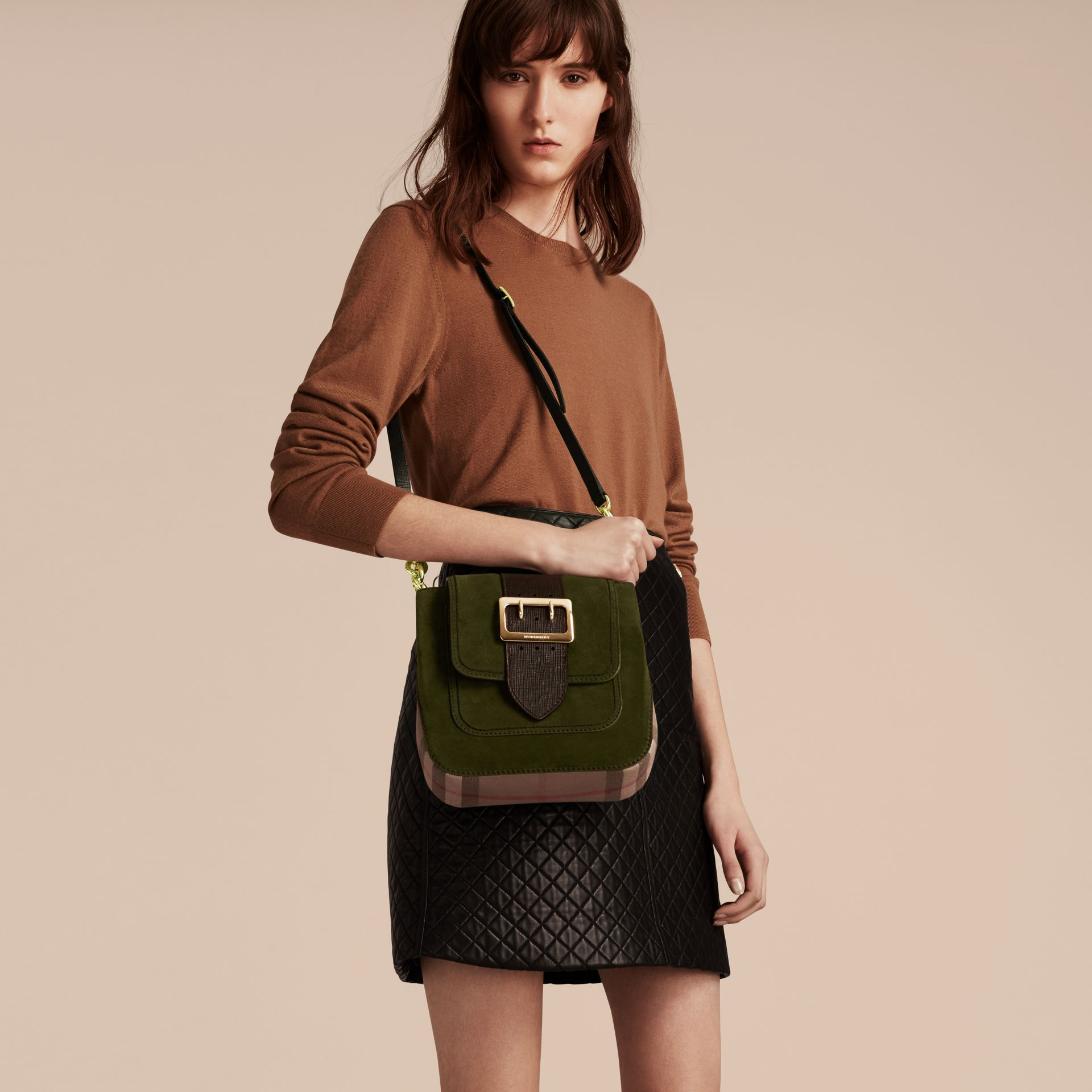 Military green The Medium Buckle Bag – Square in English Suede and House Check - gallery image 3