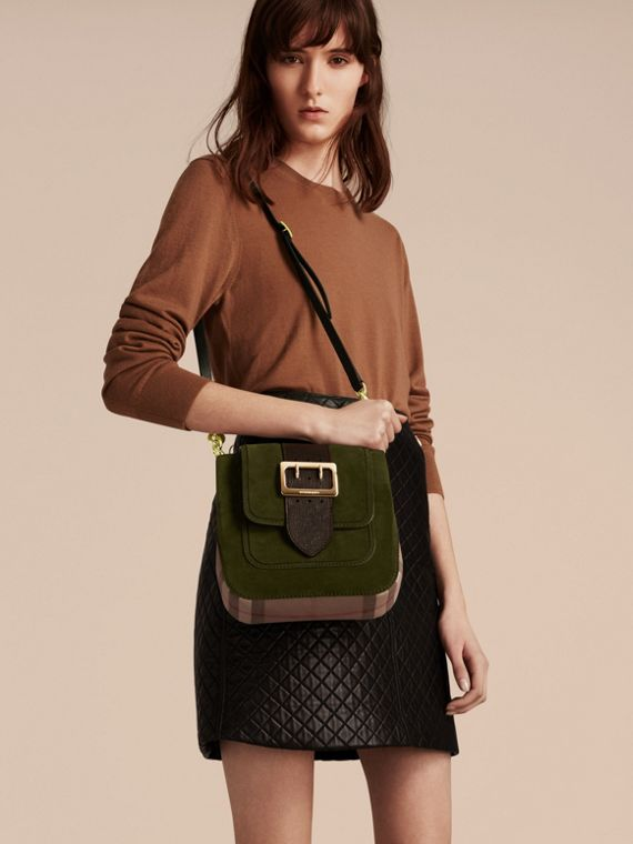 Military green The Medium Buckle Bag – Square in English Suede and House Check - cell image 2