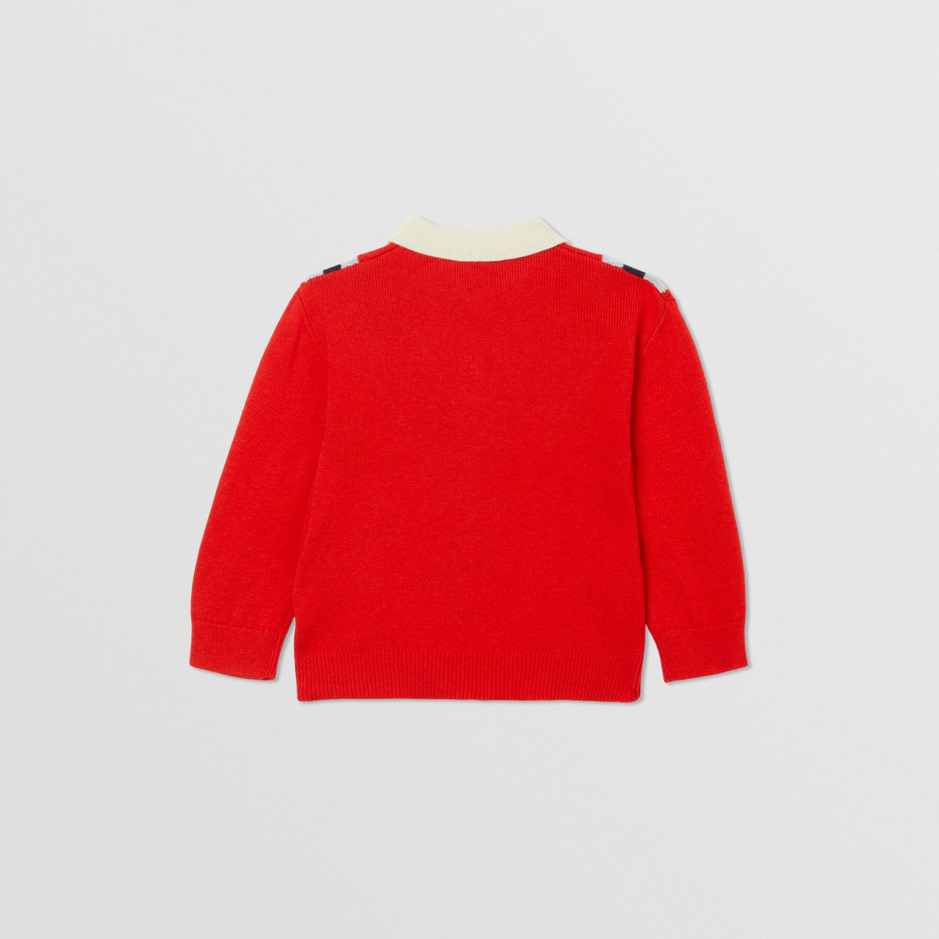 Long-sleeve Knit Cashmere Cotton Polo Shirt in Bright Red - Children | Burberry United Kingdom - gallery image 2