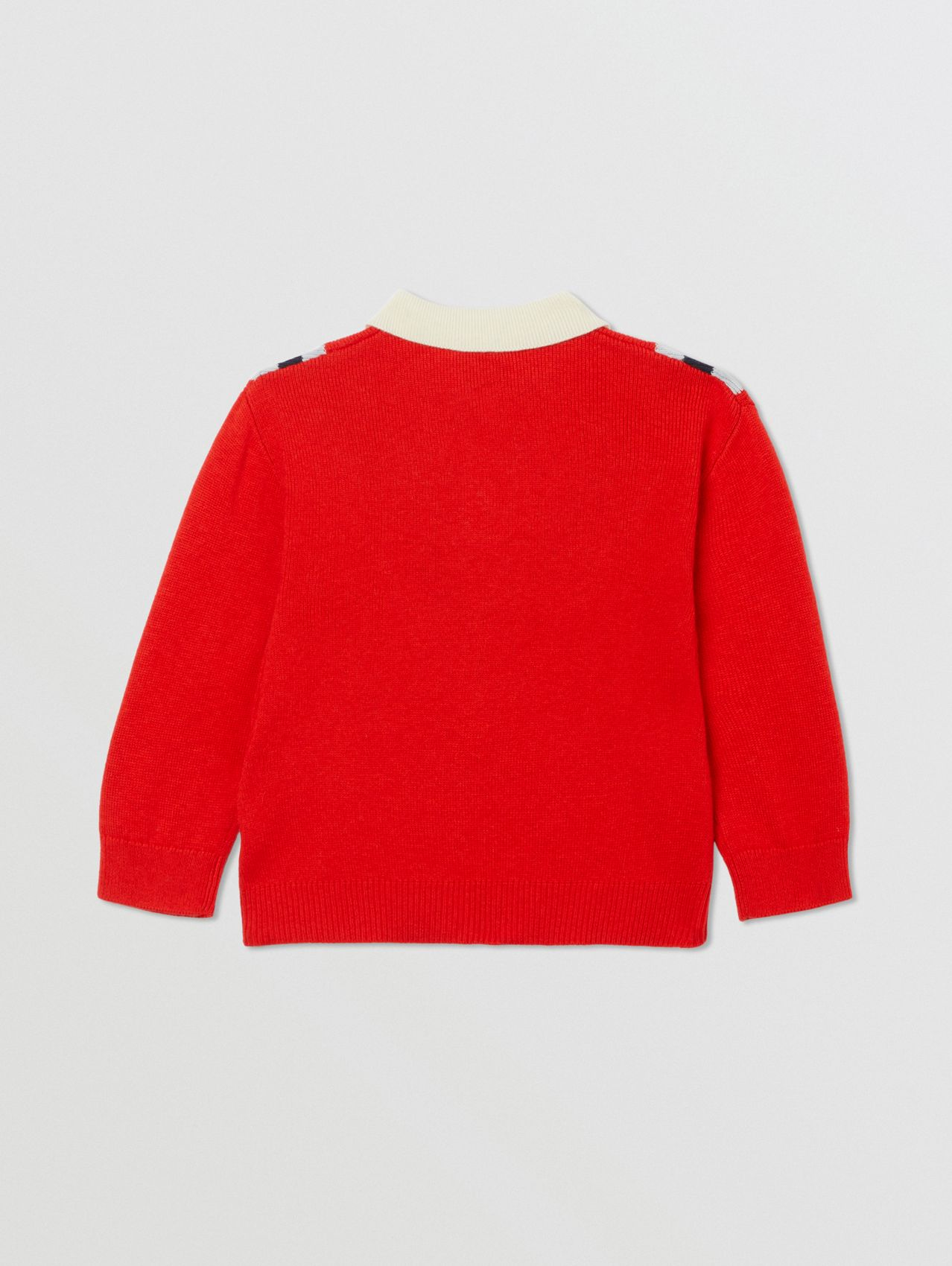 Long-sleeve Knit Cashmere Cotton Polo Shirt in Bright Red