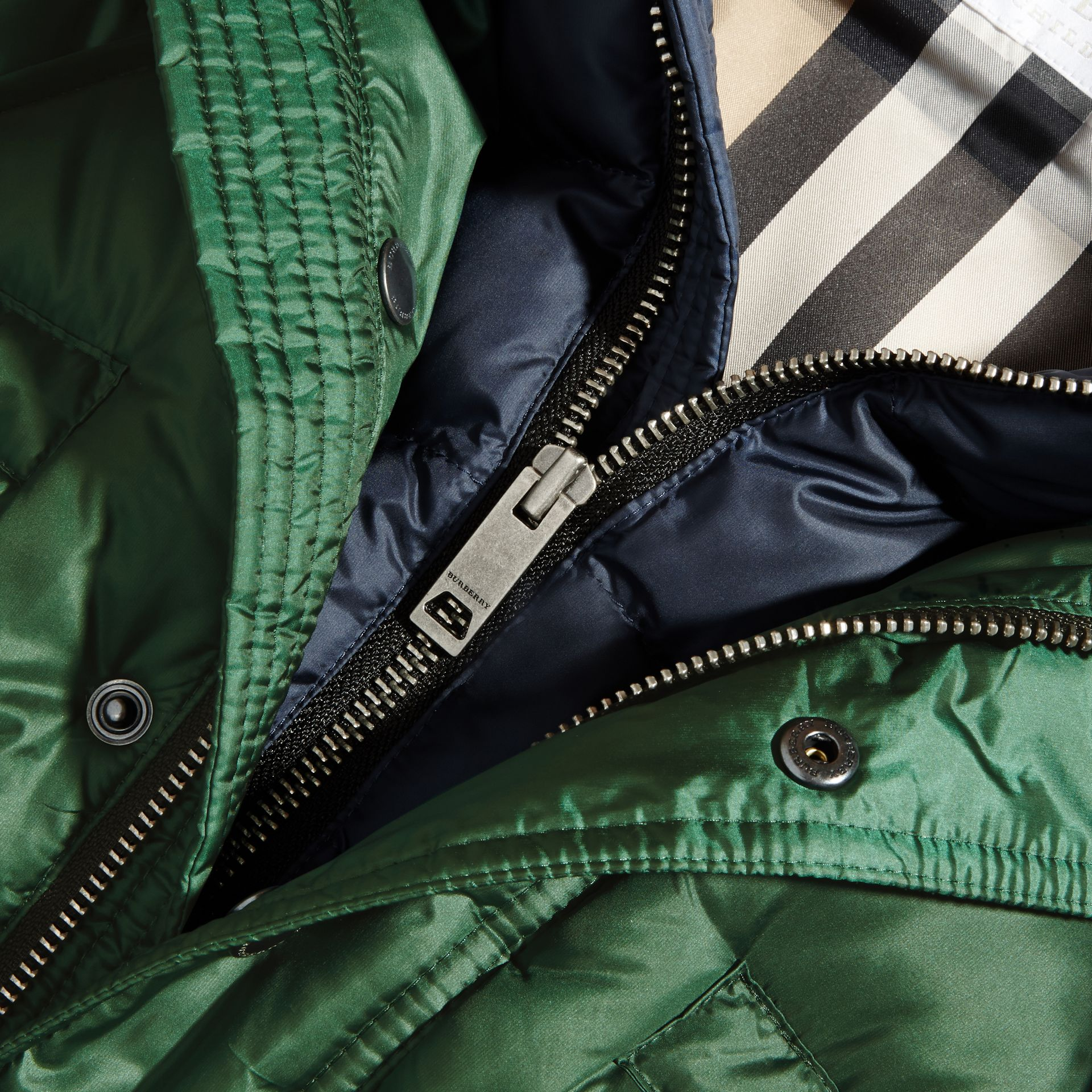 Deep bottle green Down-Filled Hooded Puffer Coat Deep Bottle Green - gallery image 2