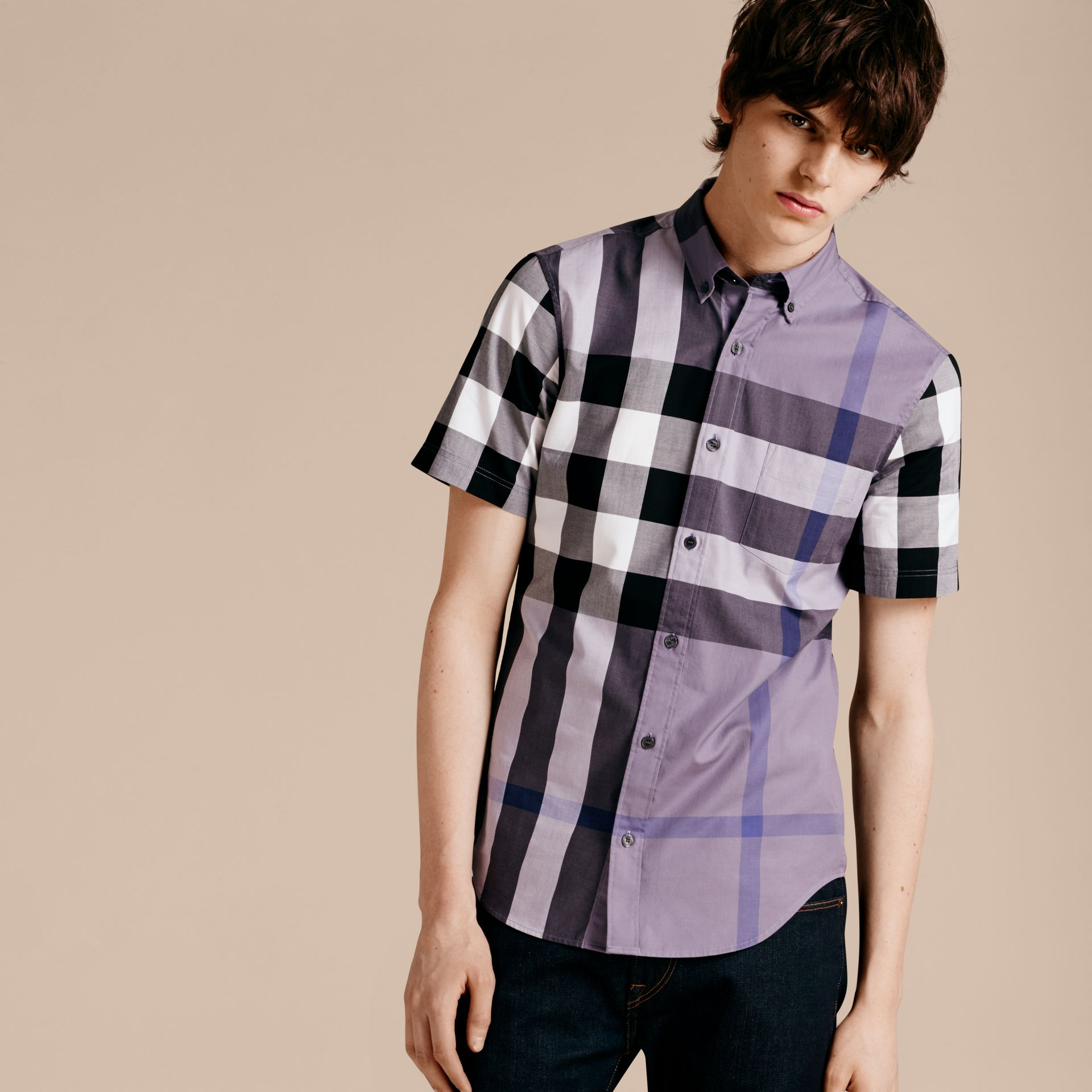 Lilac Short-sleeved Check Cotton Shirt Lilac - gallery image 6