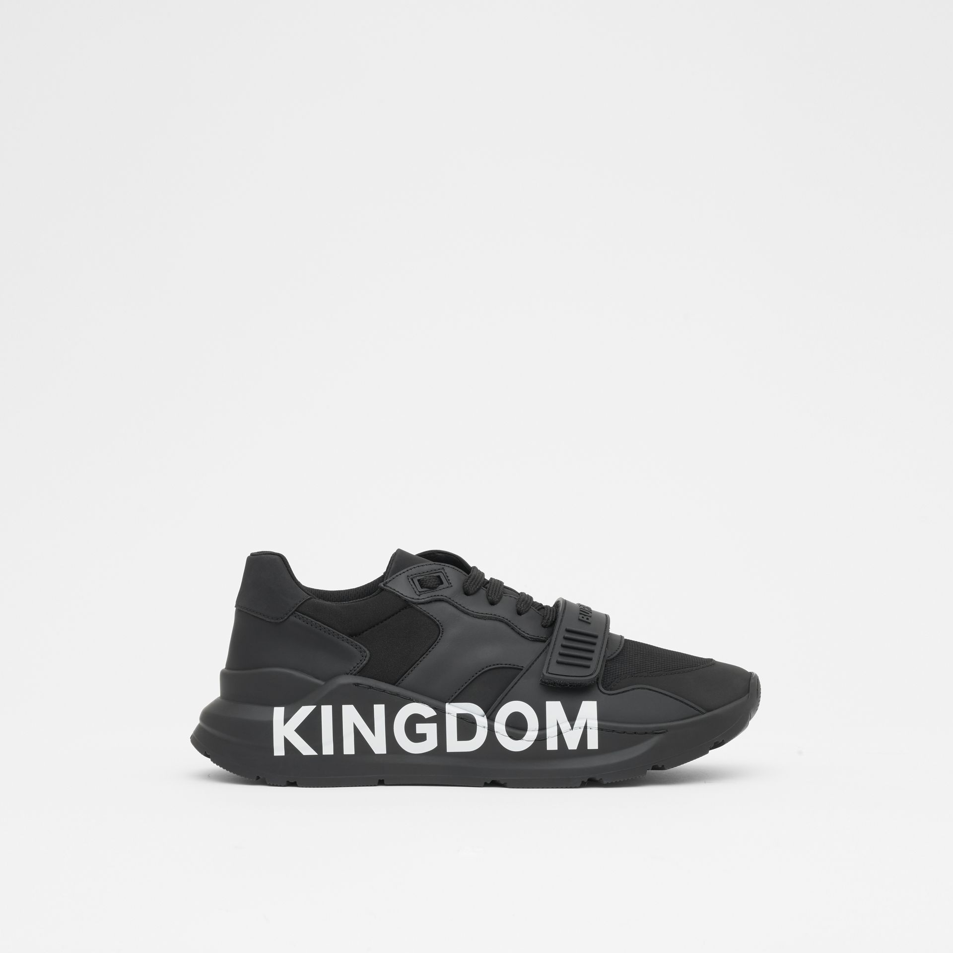 Kingdom Print Neoprene and Leather Sneakers in Black - Men | Burberry United States - gallery image 4